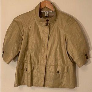 Diane von Furstenberg Gold Linen Cropped Jacket 6